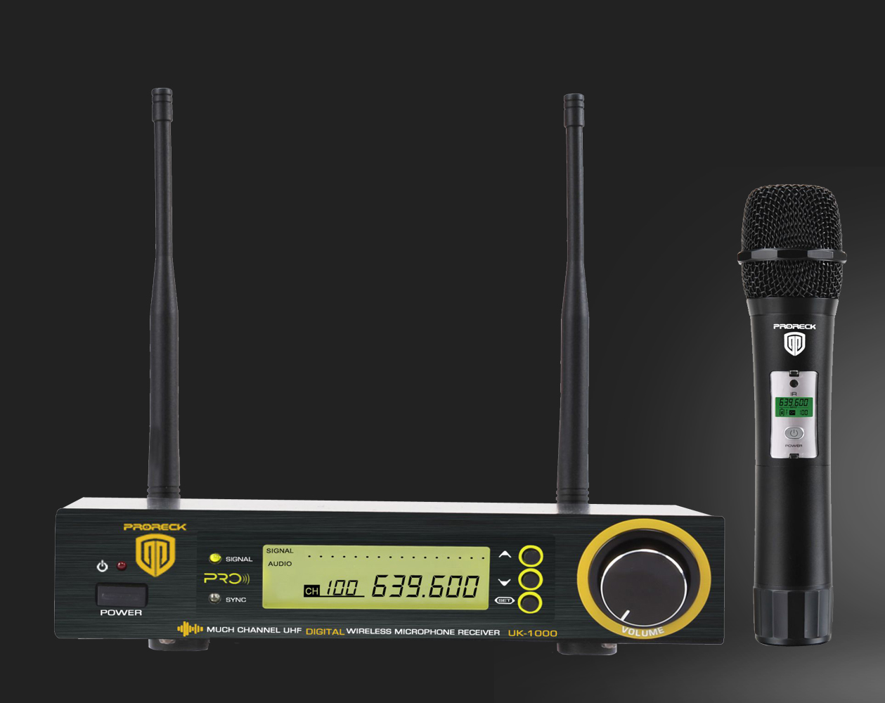 PRORECK UK-1000 UHF Wireless Microphone System with Hand-held Microphone 100 Selectable Frequencies, 200 Feet Operating Range, K